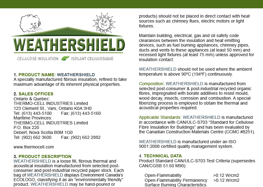 Thermoshield Cellulose Insulation Thermocell